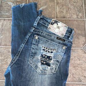 Rare Miss Me Crop Cuffed Skinny Flag Jeans Raw Hem
